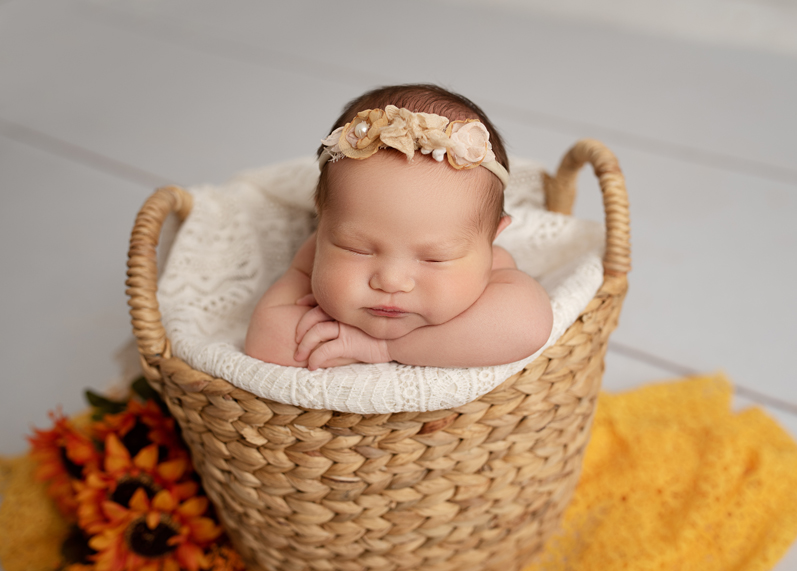 newborn photography baby sunflowers